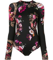 camilla floral-print long sleeve swimsuit - black