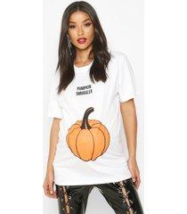 zwangerschap 'pumpkin smuggler' halloween t-shirt, wit