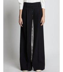 proenza schouler silk viscose tuxedo pants black 0