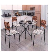 conjunto de mesa com tampo de vidro e 4 cadeiras istambul ii preto e junco
