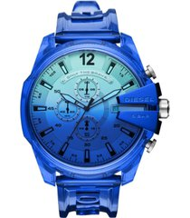 diesel men's chronograph megachief transparent polyurethane strap watch 51mm