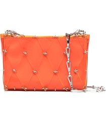 paco rabanne diamond chain-link tote bag - orange