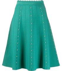 sandro paris faux-pearl embellished skirt - green