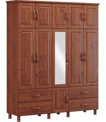 roupeiro tripartido 11 portas 4 gavetas e 1 espelho finestra linha bronze cor imbuia