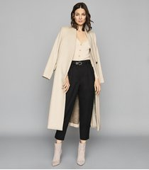 reiss mae - slim fit ribbed cardigan in neutral, womens, size xl