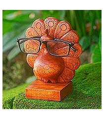 wood eyeglasses holder, 'little peacock' (indonesia)