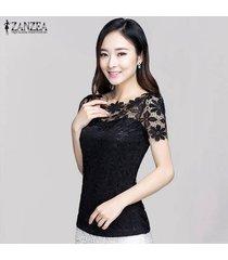 zanzea verano de la manera de las mujeres florales de encaje delgado blusas de las camisas de manga corta ocasional elegante tee tops blusas tallas grandes (negro) -negro