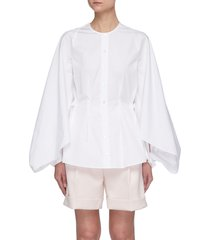 'golding' drape sleeve cinch waist collarless cotton shirt