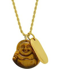 18k goldplated stainless steel & tiger's eye laughing buddha & dog tag pendant necklace