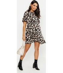zwangerschap gesmokte luipaardprint jurk, bruin