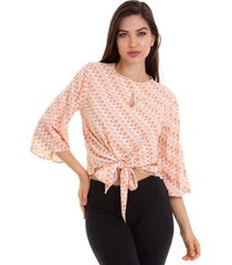 blusa viscose kinara com amarração feminina