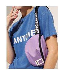 pochete feminina pantone com zíper lilás