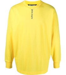 palm angels logo-print drop-shoulder sweatshirt - yellow