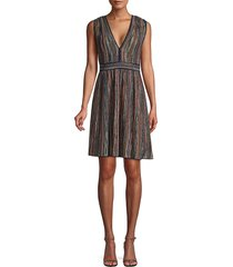 saks fifth avenue women's sleeveless lurex fit-&-flare dress - old rose - size 46 (10)