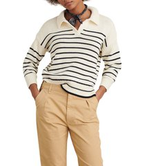 women's alex mill jacques stripe pullover, size large - blue