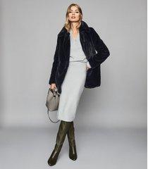reiss lillianna - wool blend knitted pencil skirt in blue, womens, size xxl