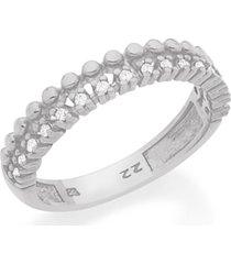 anel bijoulux aro duplo com esferas e zircônias semi jóia