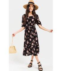 arin smocked floral midi dress - black