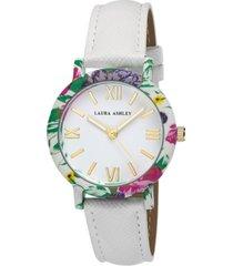 laura ashley women's floral bezel watch