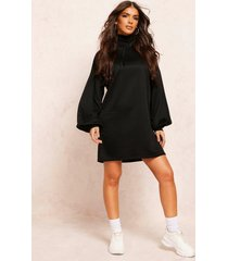 recycled sweat oversized hoodie dress, black
