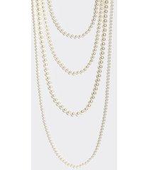 motivi collana lunga multifilo con perle donna bianco