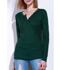 casual v-neck long sleeve pure color women's t-shirt