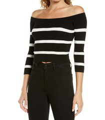 women's l'agence conner off the shoulder sweater, size large - black