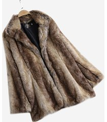 cappotti lunghi girocollo slim in pelliccia sintetica