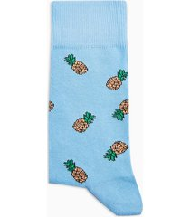 mens white pineapple motif socks