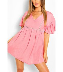 linen look flared sleeve smock dress, coral