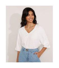blusa ampla básica manga curta decote v off white