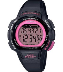 casio women's digital black resin strap watch 37.2mm