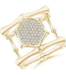 natori indochine 14k pave diamond hexagon center double bamboo band cocktail ring, women's, size 4 fine jewelry