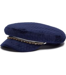 'marina' pearl crystal embellished chain velvet quilted newsboy cap