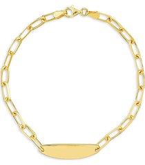 saks fifth avenue women's paperclip oval engravable id chain bracelet