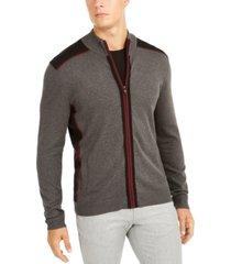 alfani men's classic-fit colorblocked full-zip cardigan, created for macy's