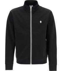 marcelo burlon sporty sweatshirt with zip and fire cross embroidery
