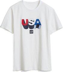 camiseta blanco-multicolor gap