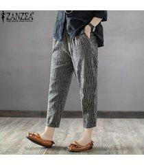 zanzea mujeres más el tamaño de los pantalones a rayas oficina ol cintura alta pantalones lápiz -negro