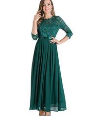 vestido fiesta encaje largo verde nicopoly