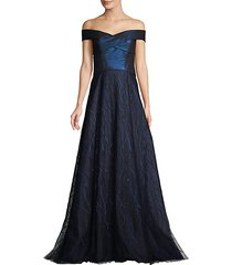 off-the-shoulder textured gown