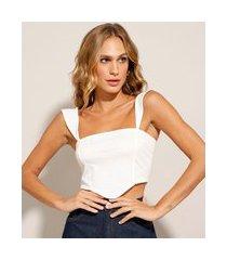 regata cropped corset alça fina com babado decote reto off white