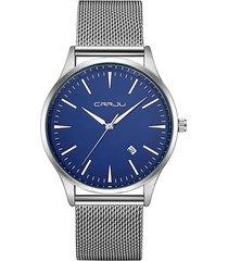 reloj lujo hombres acero inoxidable crrju 2135 plateado azul