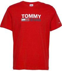 tjm corp logo tee t-shirts short-sleeved röd tommy jeans