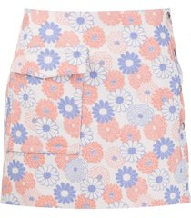 kenzo embroidered flowers flap pocket skirt - neutrals