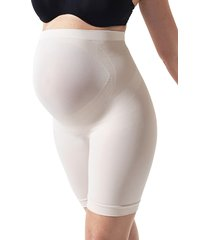 women's blanqi everyday belly support maternity shorts, size large - beige