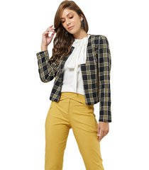 casaqueto mx fashion tweed xadrez chelsea preto/amarelo