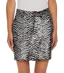 zebra-print sequin mini skirt