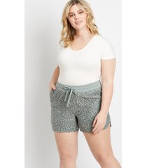 maurices plus size womens olive leopard weekender 5in shorts brown