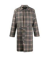 tagliatore trench coat com cinto e padronagem xadrez - neutro